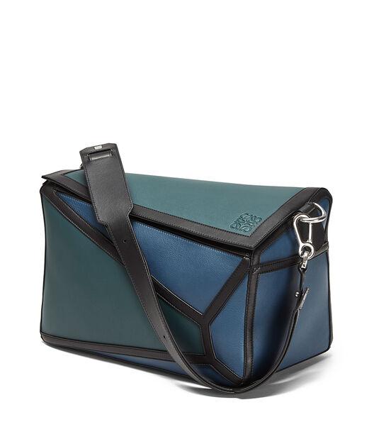 LOEWE Puzzle Graphic Xl Bag Indigo/Petroleum Blue front