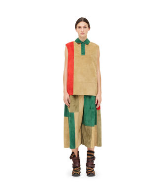 LOEWE Patchwork Poloneck Top Gold/Red front