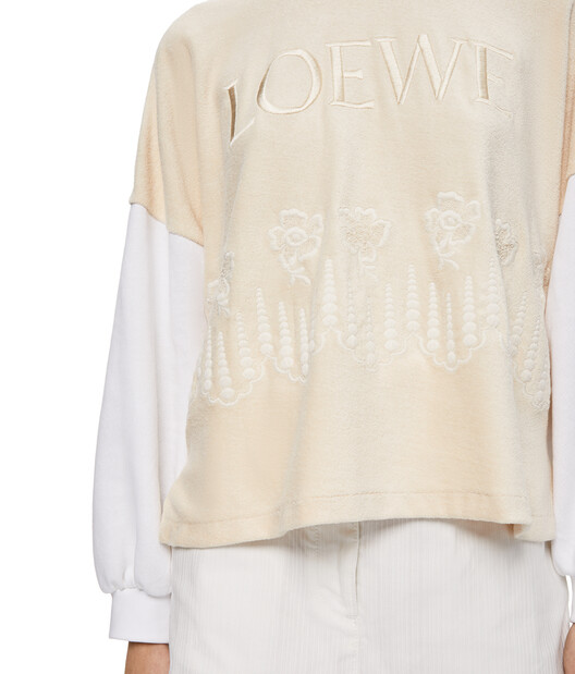 LOEWE Embroidered Sweatshirt Ecru/Blanco front
