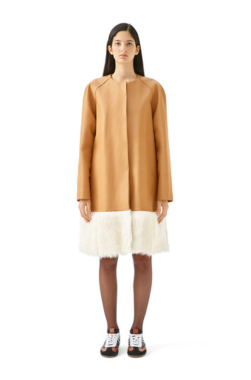LOEWE Shearling Trim Coat Camel/White front