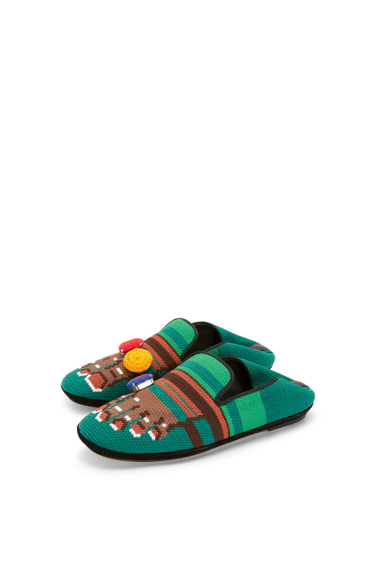 LOEWE Slipper Pie Bordado Marron/Verde pdp_rd