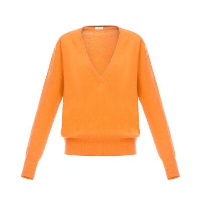 LOEWE Vネックセーター オレンジ front