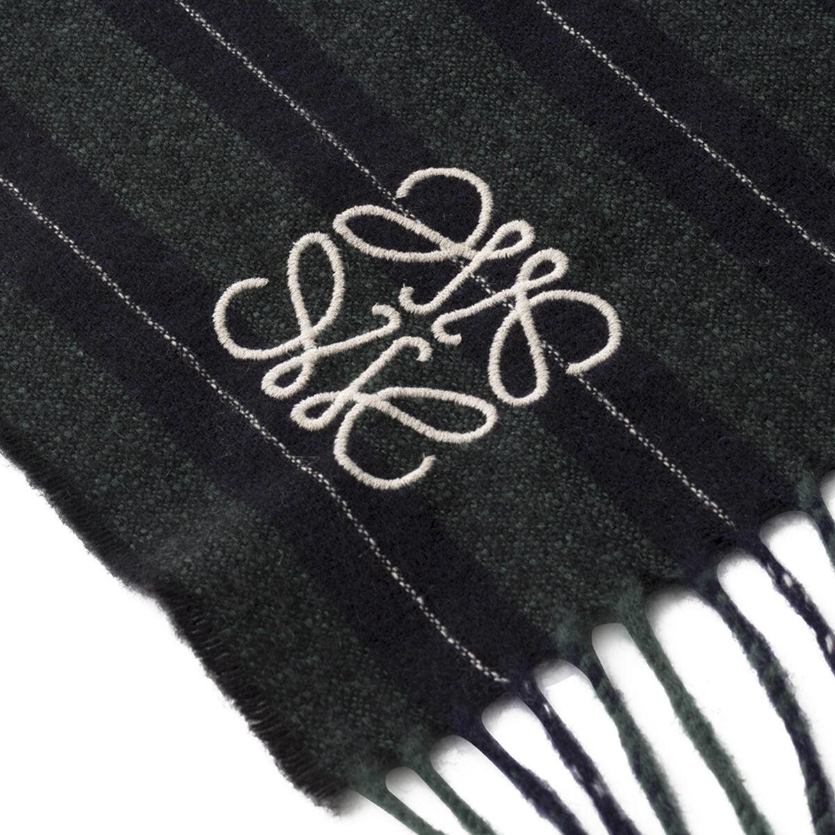 LOEWE 30X180 Scarf Varsity Stripes Verde Oscuro/Marino all