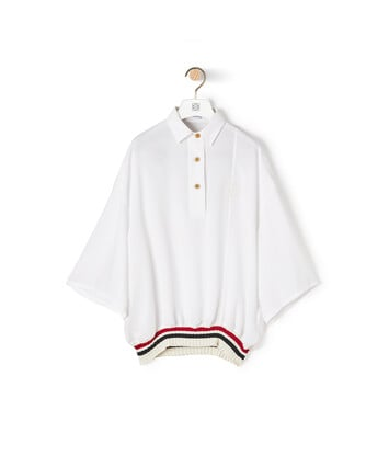 LOEWE Rib Poloneck Top White front