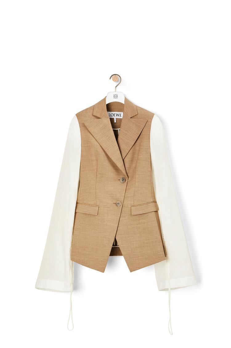 LOEWE Drawstring sleeve jacket in wool and viscose Beige/White pdp_rd