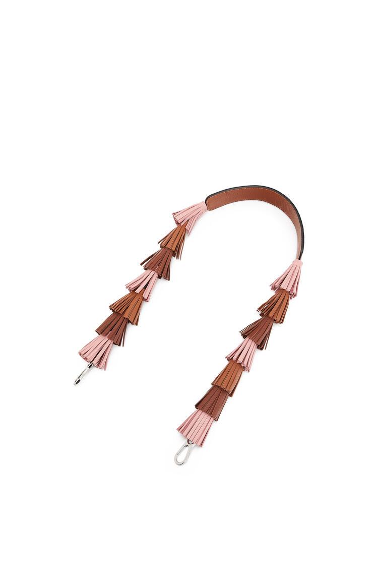LOEWE Tassels strap in classic calfskin Medium Pink/Cognac pdp_rd