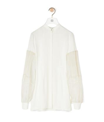 LOEWE Pleated Sleeves Shirt Blanco front