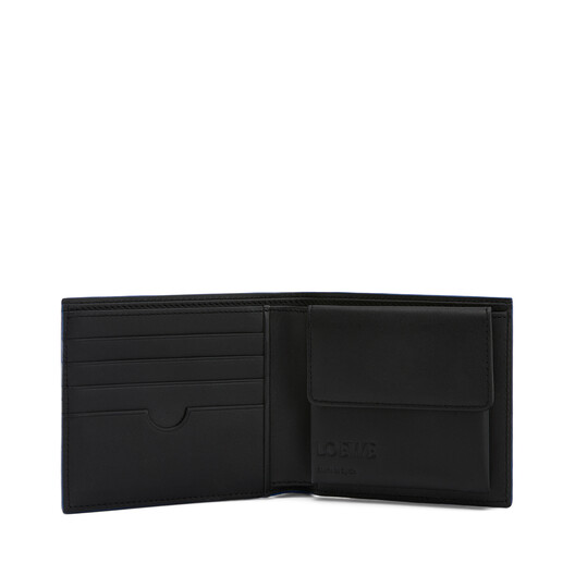 LOEWE Brand Bifold Coin Wallet Steel Blue front