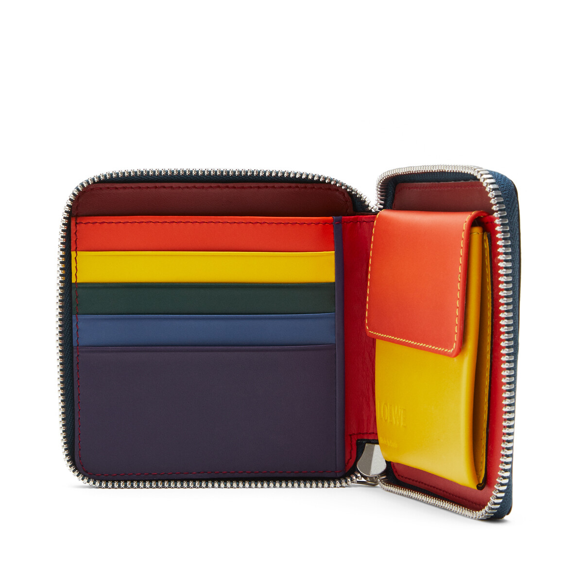 LOEWE Rainbow Square Zip Wallet Blue/Multicolor front
