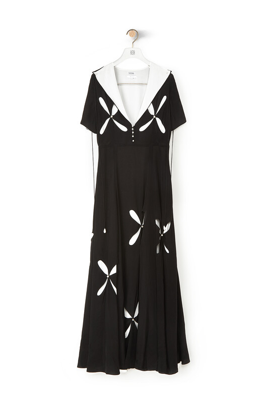 LOEWE Cut Out Dress Pearls 黑色/白色 front