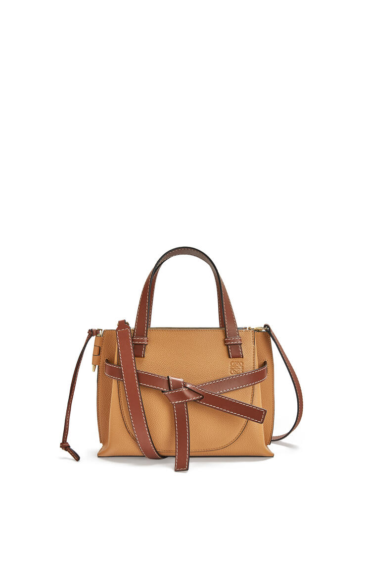 LOEWE Mini Gate Top Handle bag in soft grained calfskin Light Caramel pdp_rd