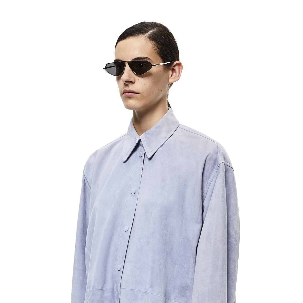 LOEWE Leather Geometric Sunglasses アンスラサイト front