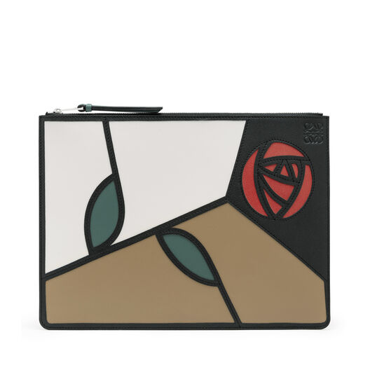 LOEWE Medium Flat Pouch Roses Mocca/Multicolor front