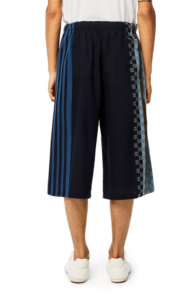 LOEWE Anagram Embroidered Shorts In Stripe Cotton Navy Blue/Multicolor pdp_rd