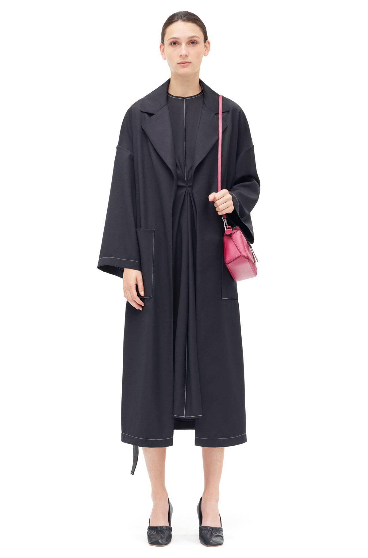 LOEWE Oversize Belted Coat Negro front