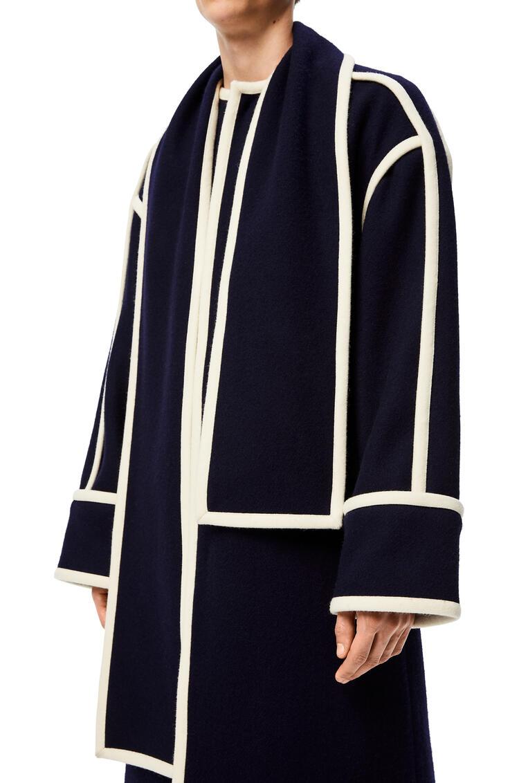 LOEWE Abrigo en Jacquard de lana con bufanda Marino/Blanco pdp_rd
