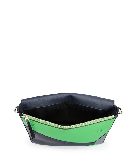 LOEWE Puzzle Messenger Bag Deep Blue/Green front