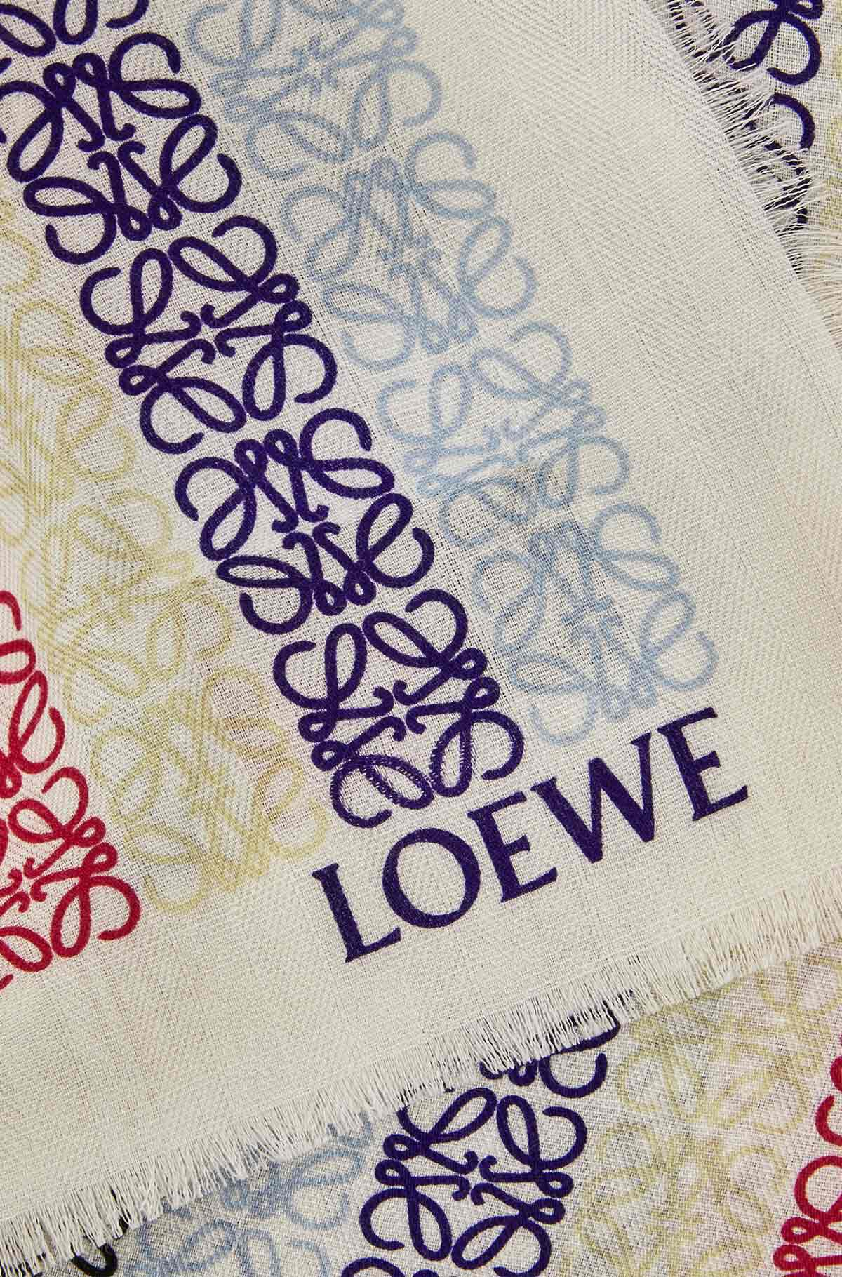 LOEWE 70X200  Anagram Scarf Blue/Red front