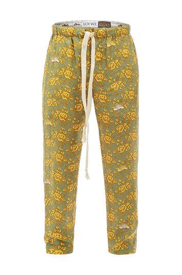 LOEWE Paula Print Pyjama Trousers Green/Multicolor front