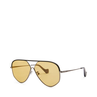 LOEWE Pilot Leather Sunglasses Black/Gold/Amber front