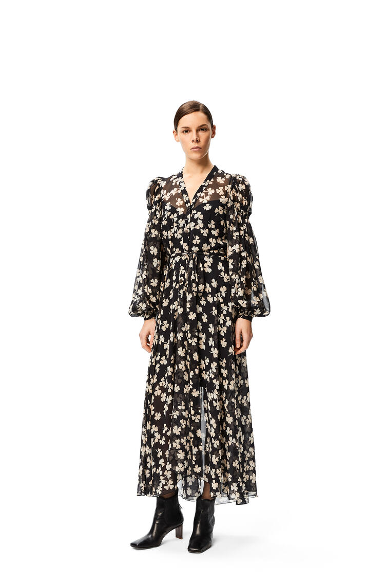 LOEWE Peasant long dress in shamrock silk Black/Ivory pdp_rd