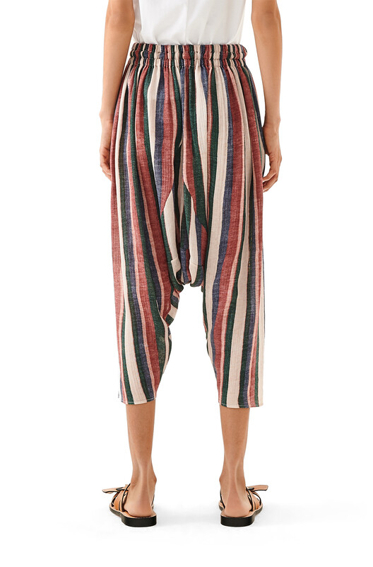 LOEWE Stripe Cropped Trousers Pink/Strawberry/Blue front