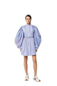 LOEWE Pleated sleeve mini dress in cotton Smoke Blue pdp_rd