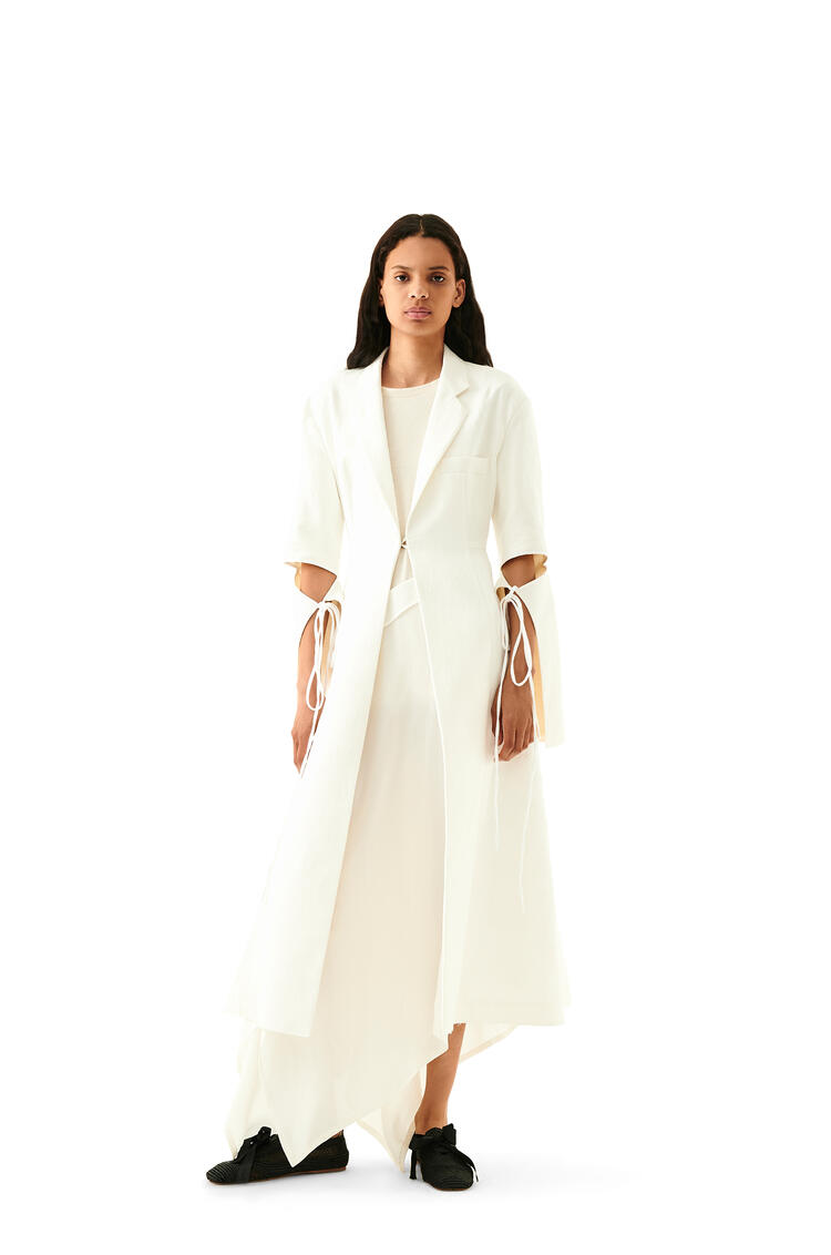 LOEWE Tie Cut Panel Coat In Jacquard Cotton White pdp_rd