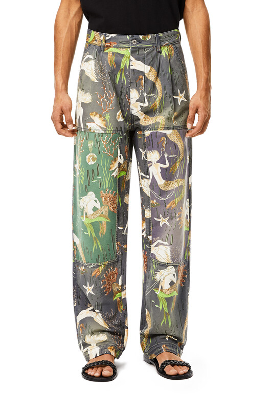LOEWE Trousers In Mermaid Cotton Multicolor front