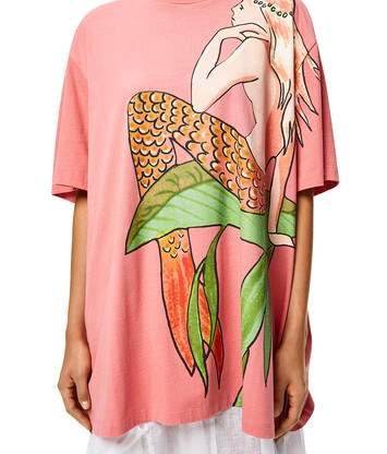 LOEWE Oversize T-Shirt In Mermaid Cotton Rose front