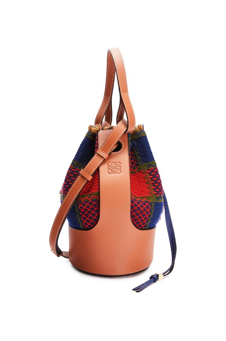 LOEWE Balloon bag in tartan and calfskin Tan/Red pdp_rd