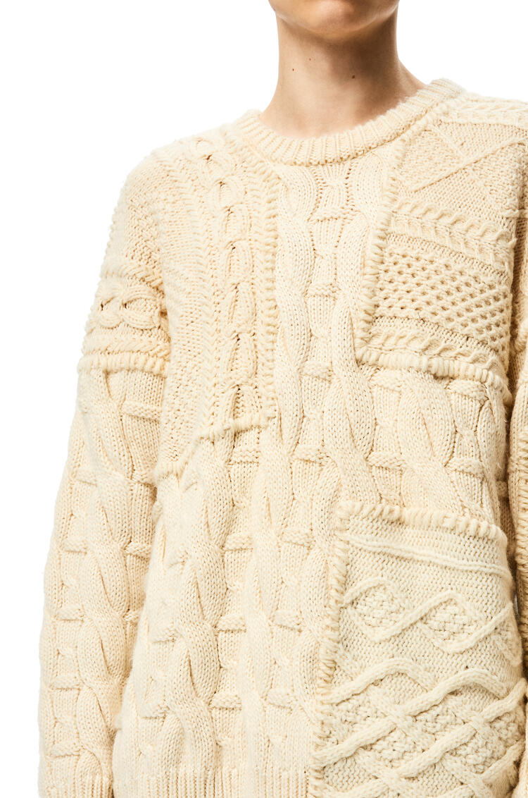 LOEWE Patchwork cable sweater in wool Off-white pdp_rd