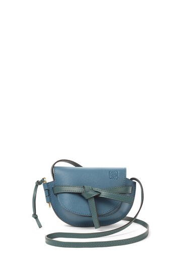 LOEWE Mini Gate bag in soft grained calfskin Petroleum Blue/Cypress pdp_rd