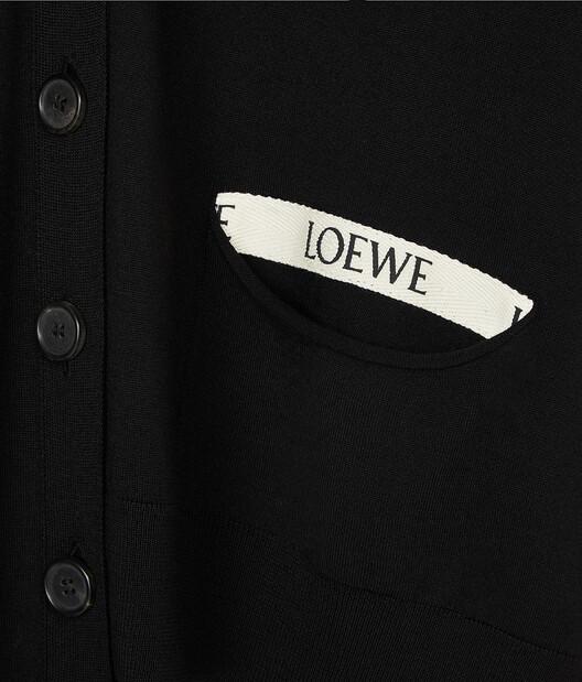 LOEWE Asymmetric Loewe Cardigan Negro front