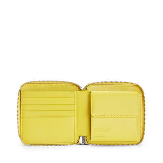LOEWE Puzzle Square Zip Wallet Yellow/Powder front