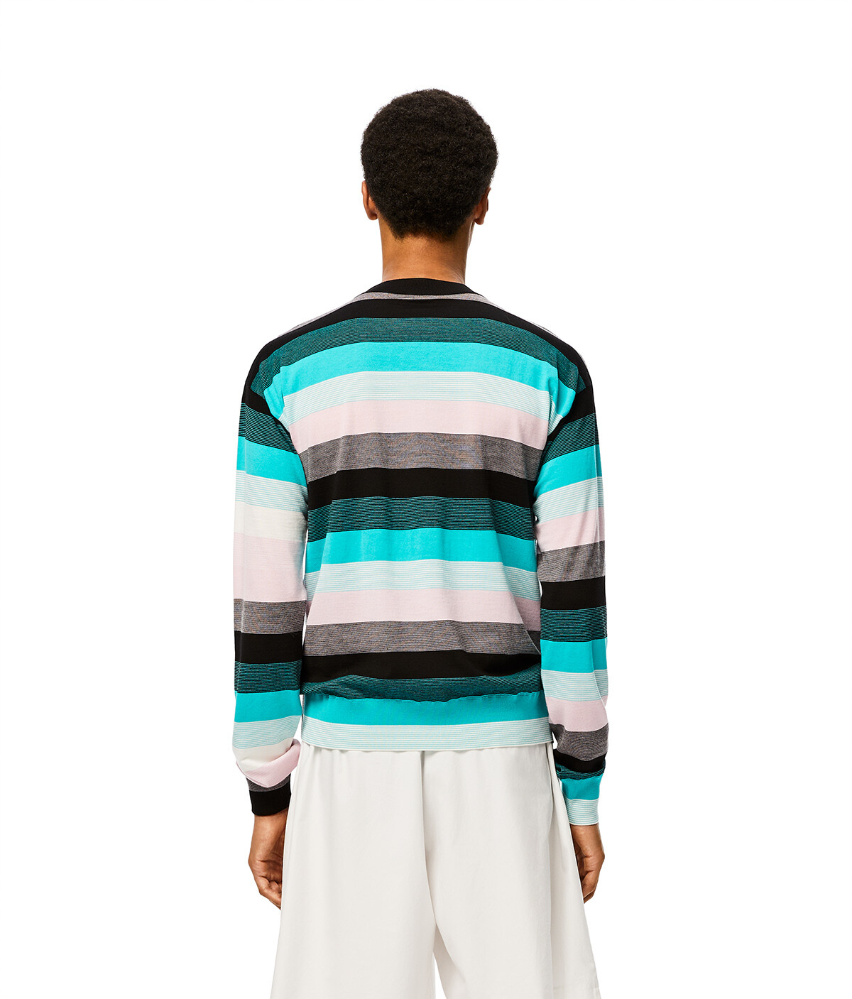 LOEWE Stripe Anagram Sweater Blue/Pink/White front