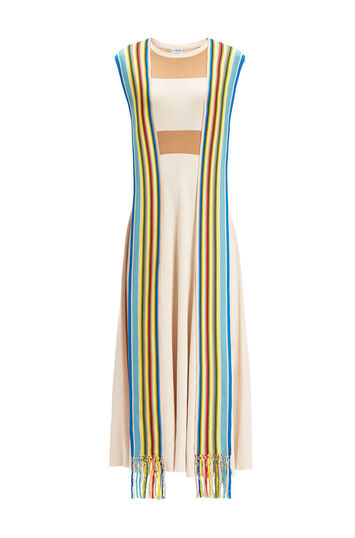 LOEWE Gros Grain Detail Dress Camel/Multicolor front