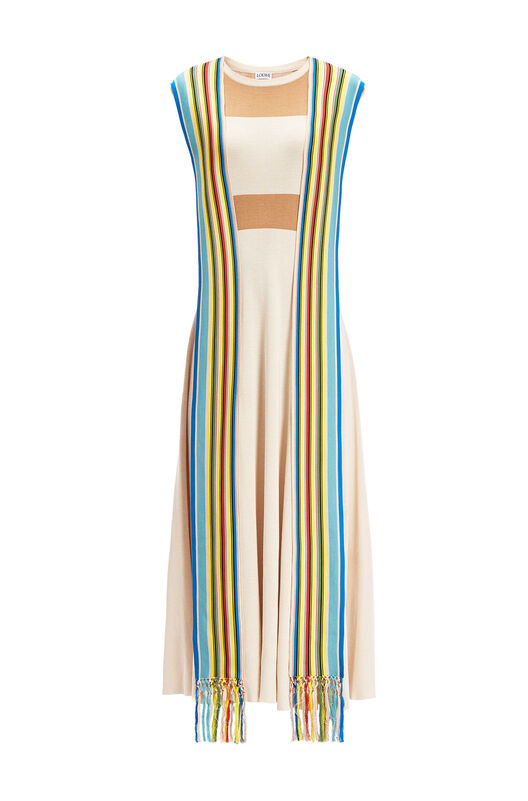 LOEWE Knit Dress Stripe Bands Camel/Multicolor front