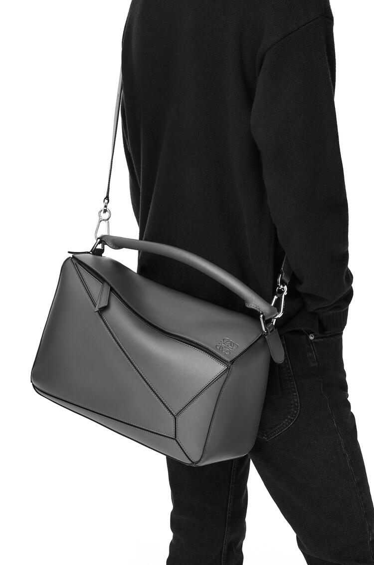 LOEWE Large Puzzle bag in soft grained calfskin Gunmetal pdp_rd