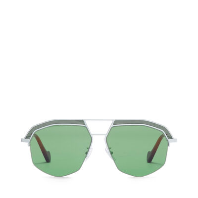LOEWE Elio Sunglasses Optical White/Bright Green front
