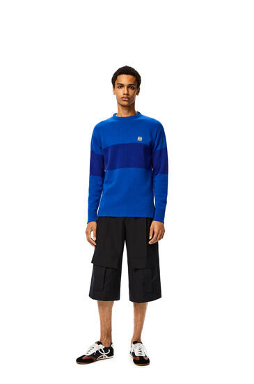 LOEWE Anagram Embroidered Sweater In Stripe Cashmere Blue/Electric Blue pdp_rd