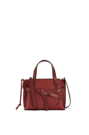 LOEWE Mini Gate Top Handle bag in soft grained calfskin Garnet pdp_rd