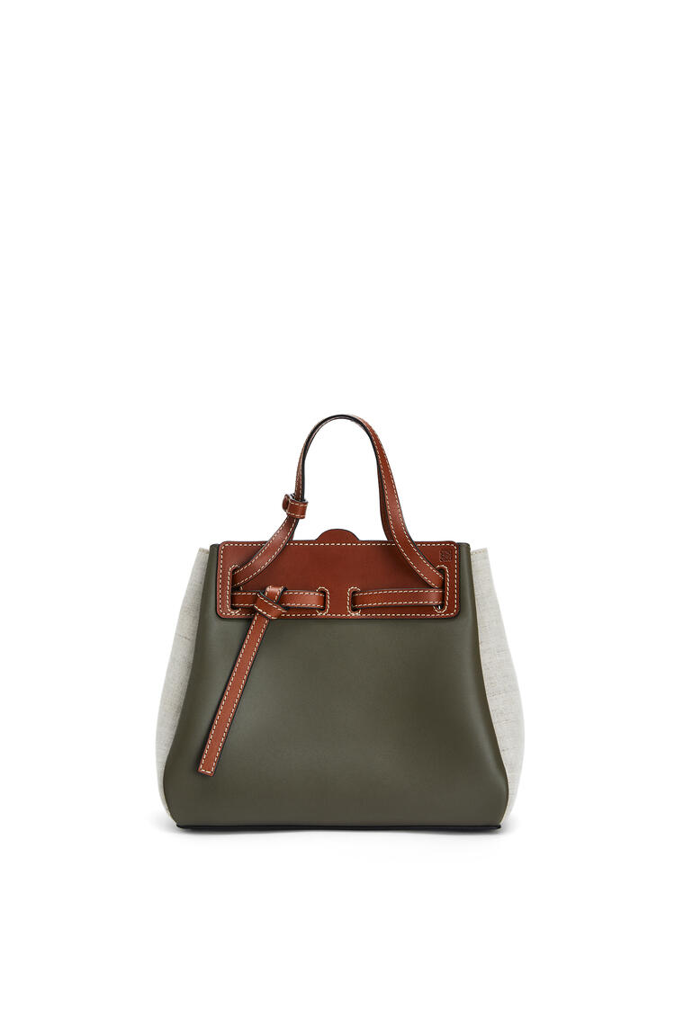 LOEWE Mini Lazo bag in calfskin and linen Khaki Green/Natural pdp_rd