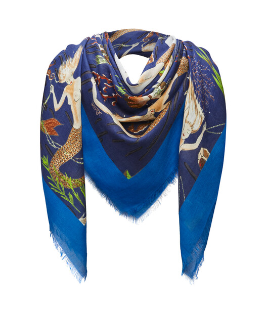 LOEWE 140 Cm X 140 Cm Scarf In Mermaid Cashmere 藍色/藍色 front