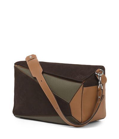 LOEWE Puzzle Xl Bag Choc Brown/Khaki Green/Tan front