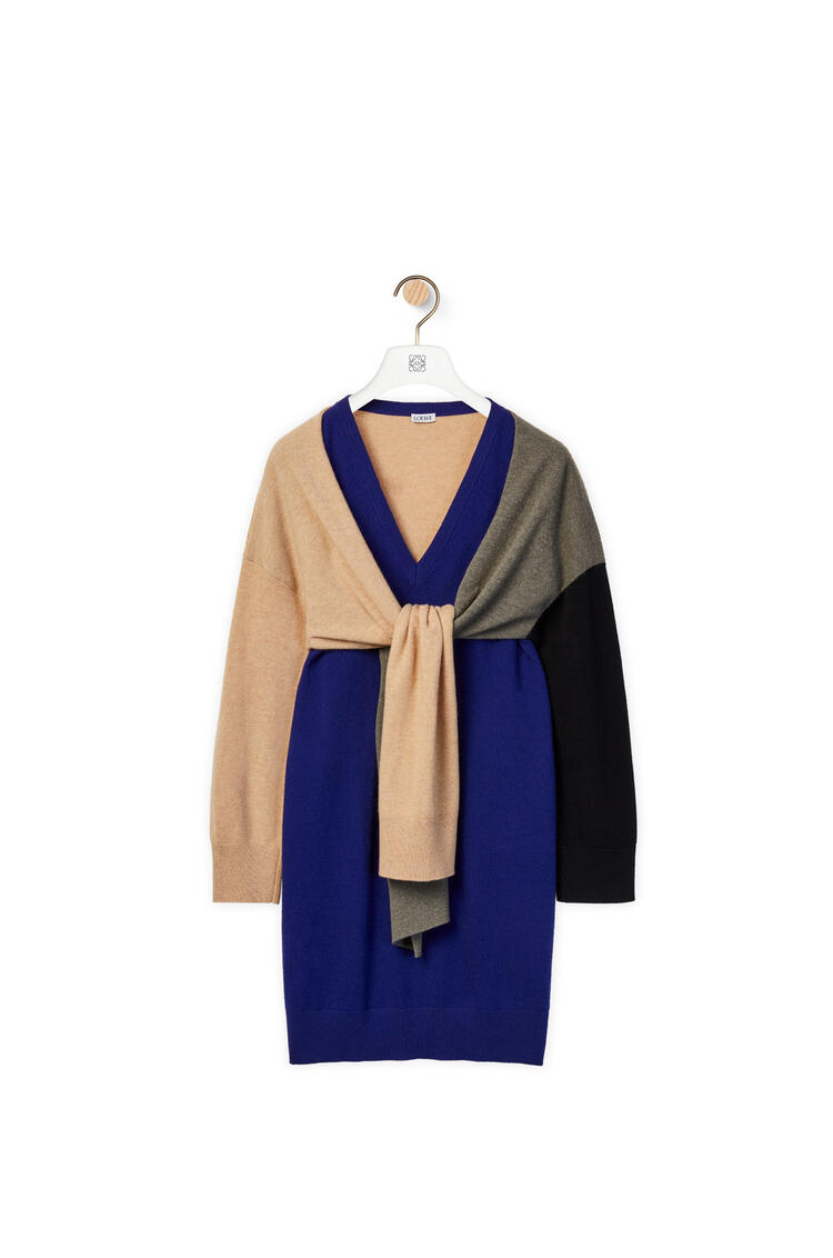 LOEWE Tie sweater dress in wool Navy Blue/Khaki Green/Black pdp_rd