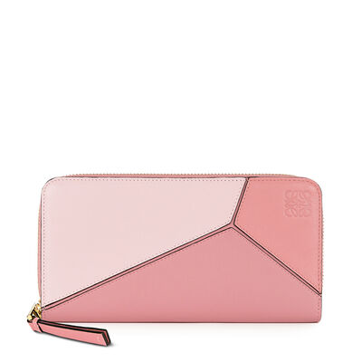 LOEWE Puzzle Zip Around Wallet Soft Pink/Candy/Dark Pink front
