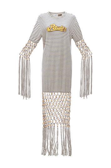 LOEWE Paula Stripe Dress Beads Ecru/Navy Blue front