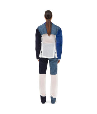 LOEWE Jacket Suede Panels & Textile 蓝色/白色 front