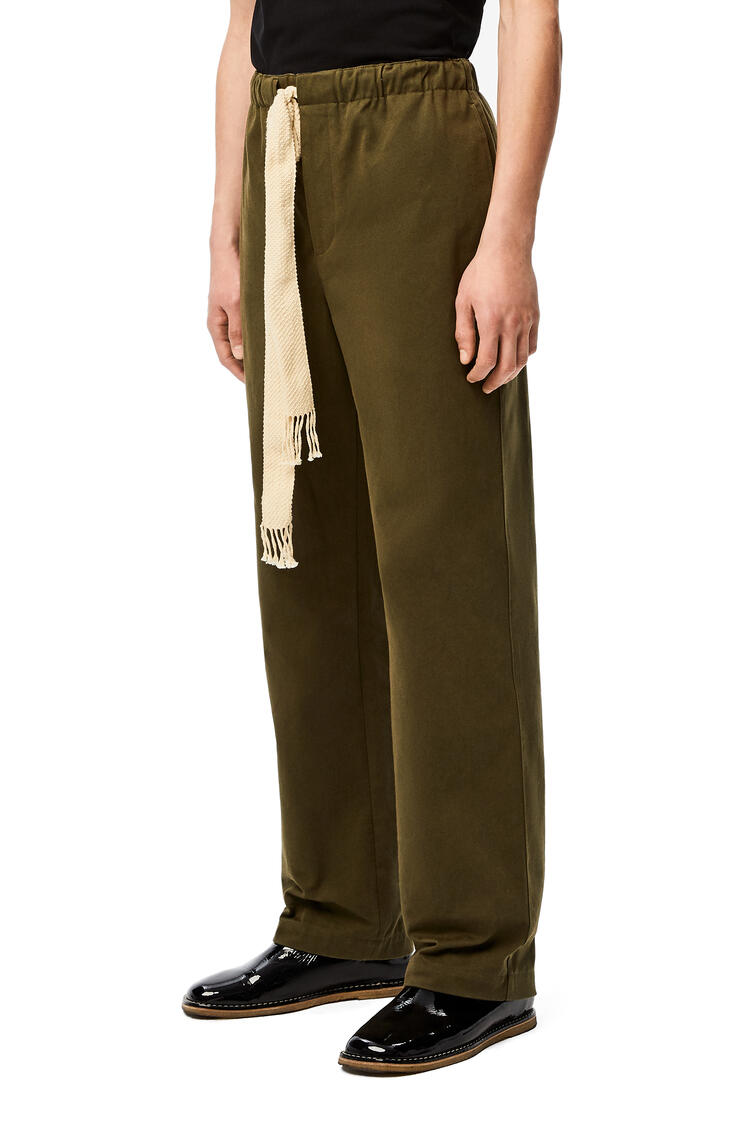 LOEWE Drawstring trousers in cotton Military Green pdp_rd